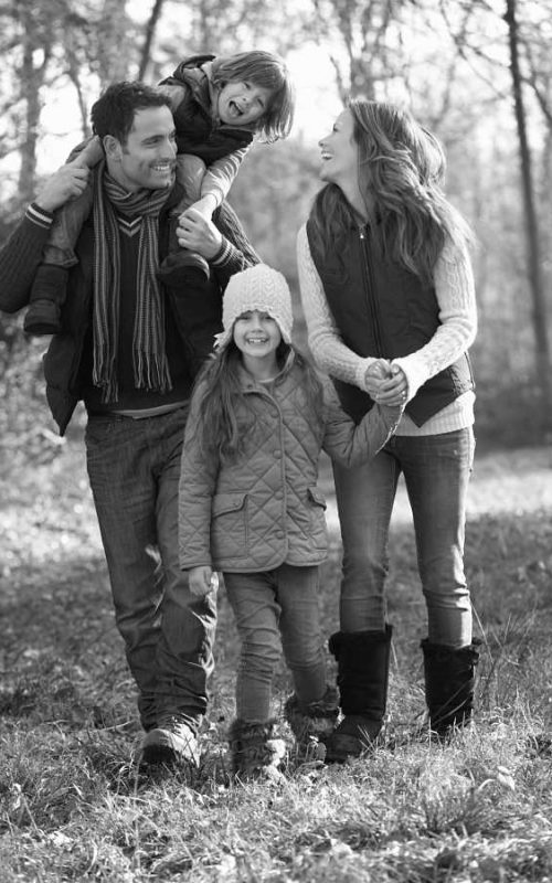 Família protegida no inverno